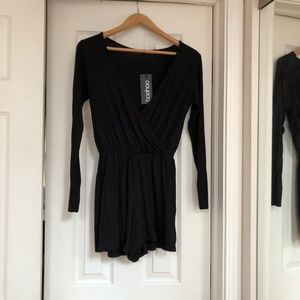 NWT Black Jersey Wrap Over Romper - US size 6